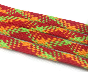 Lime Green, Orange and Red Plaid Flat Shoelaces