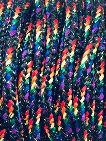 Dark Rainbow Round Sparkle Shoelaces