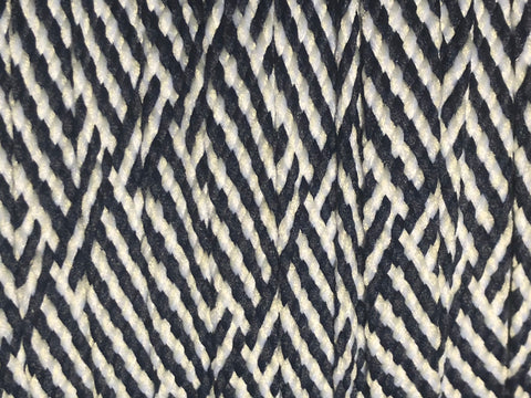Herringbone Flat Shoelaces - Navy & White