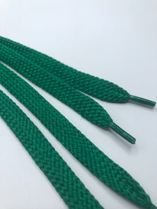 Solid Kelly Green Flat Shoelaces