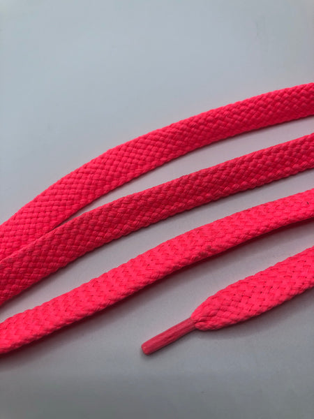 Solid Neon Pink Flat Shoelaces