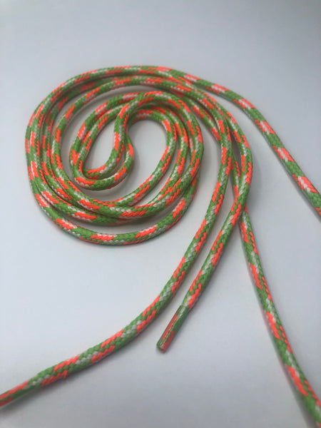 Neon Orange, White and  Lime Green Round Shoelaces