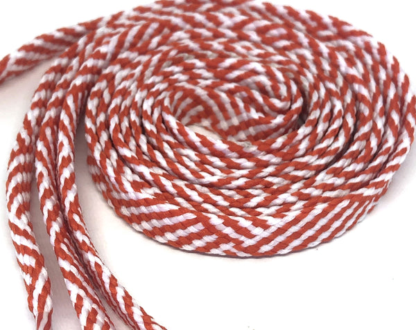 Herringbone Flat Shoelaces - Orange & White