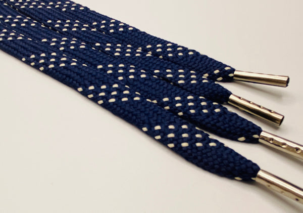 Premium Flat Navy w/Cream Accents Classic Shoelaces