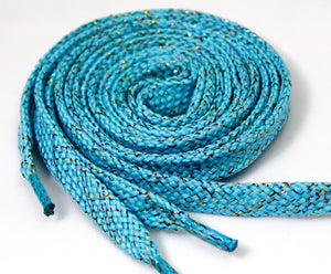Light Blue Sparkle Flat Shoelaces