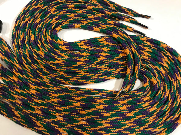 Green, Purple and Gold Mardi Gras Hybrid Shoelaces