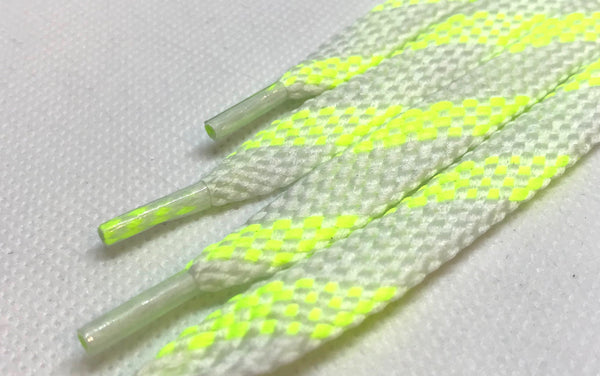 Neon Yellow and White Glow in the Dark Shoelaces