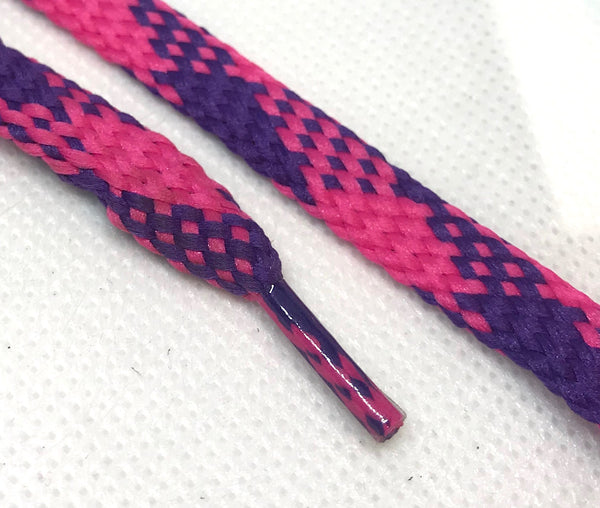 Fuchsia and Purple Plaid Flat Shoelaces