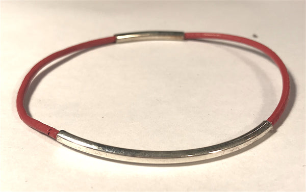 Silver and Leather Bangle Bracelets