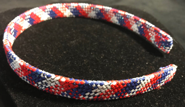 Red, White and Blue Plaid Headband