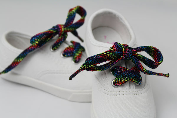 Rainbow Sparkle Flat Shoelaces