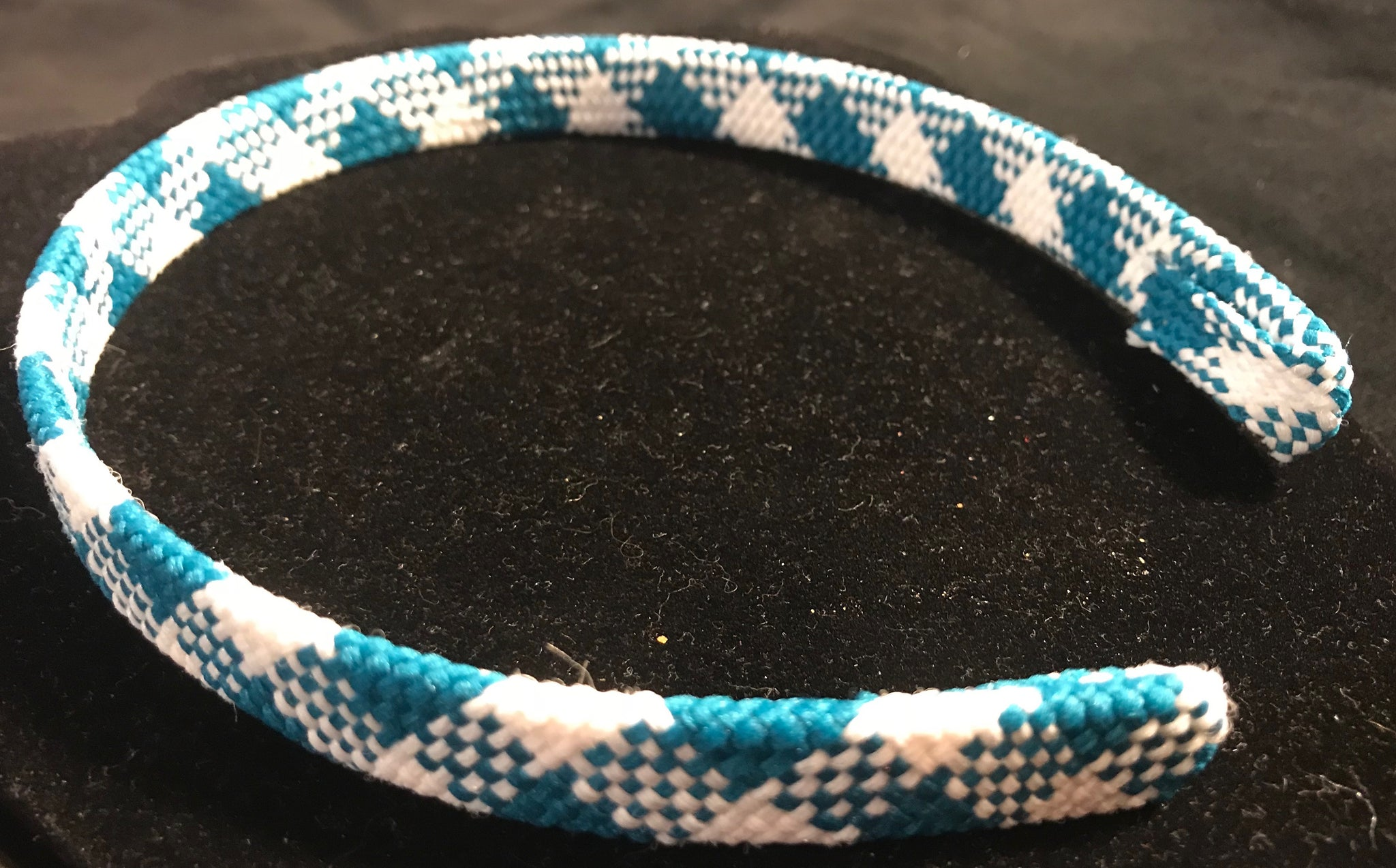 Teal and White Plaid Headband