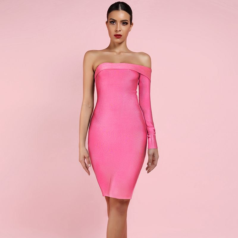 pink one shoulder bandage dress