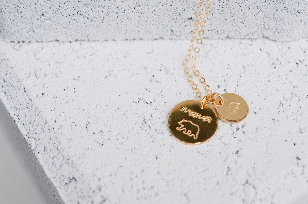 Mama Bear Disc Necklace