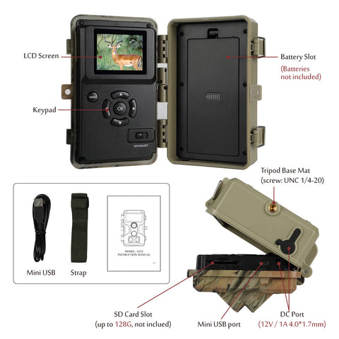 The struction and the LCD screen of Hunting Camera / Game Camera