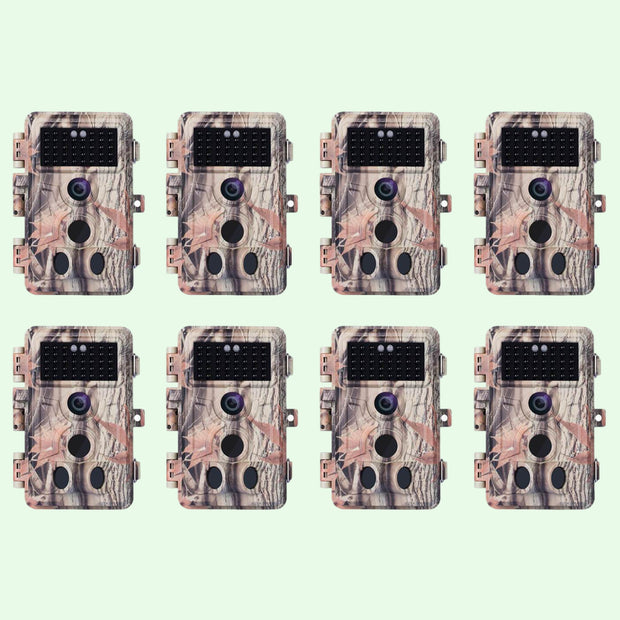 8-Pack Game Trail Wildlife Hunting Deer Cameras 20MP 1080P H.264 MP4/MOV Video with Night Vision Motion Activated Waterproof No Flash
