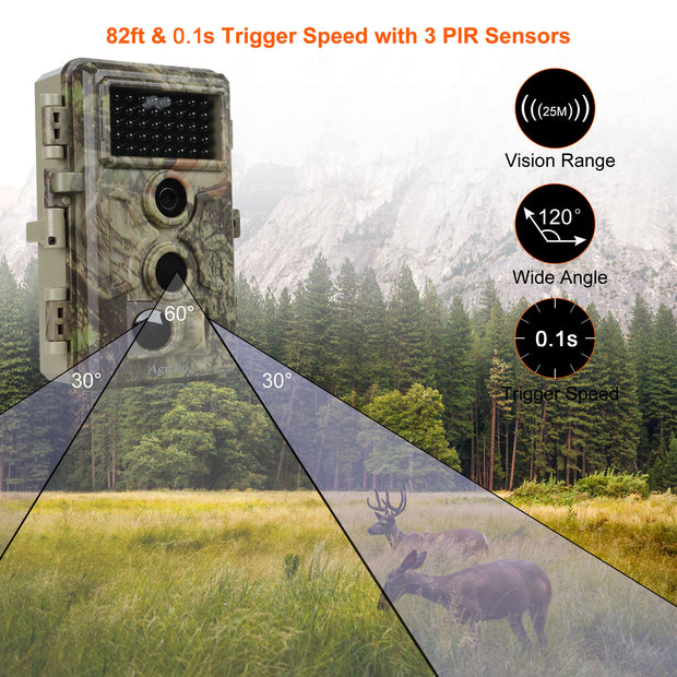 6-Pack Game Trail Wildlife Hunting Deer Cameras 20MP 1080P H.264 MP4/MOV Video with Night Vision Motion Activated Waterproof No Flash