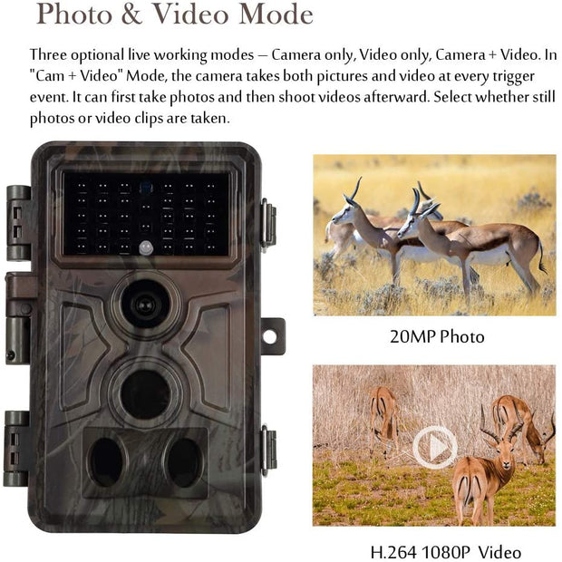 2-Pack Blazevideo A261 Wlidlife Cams Game Trail Cameras with 20MP 1080P Video Night Vision 0.1S Trigger Motion Activated Waterproof for Hunting, Farm, Animal Monitoring