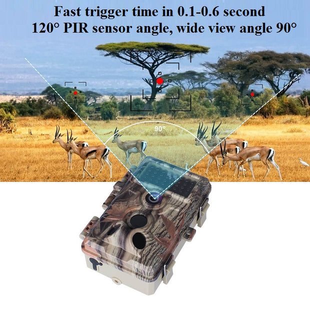 Game Trail Wildlife Hunting Deer Camera 20MP 1080P H.264 MP4/MOV Video with Night Vision Motion Activated Waterproof No Flash