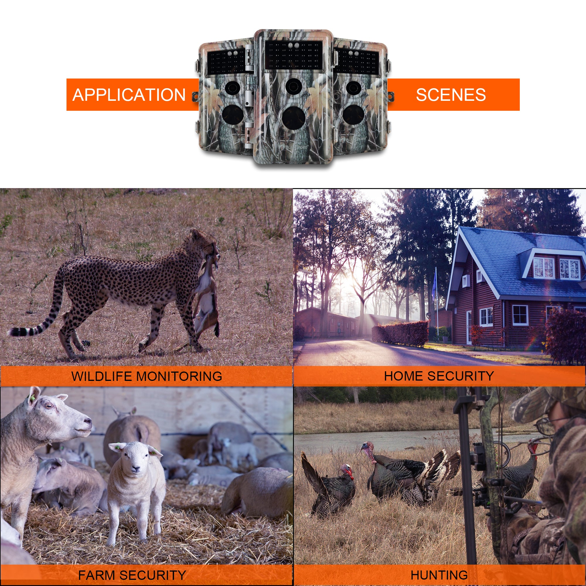 Game Trail & Deer Hunting Wildlife Camera HD 20MP Photo H.264 1080P MOV/MP4 Video Motion Activated No Glow Night Version IP66 Waterproof