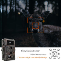 Game Trail Camera 20MP 1080P H.264 MP4 Video Scouting Deer Hunting Cam Starlight Sensor for Super Low Light Motion Activated 0.1S Trigger Speed No Glow Long Night Vision Up to 100ft IP66 Waterproof