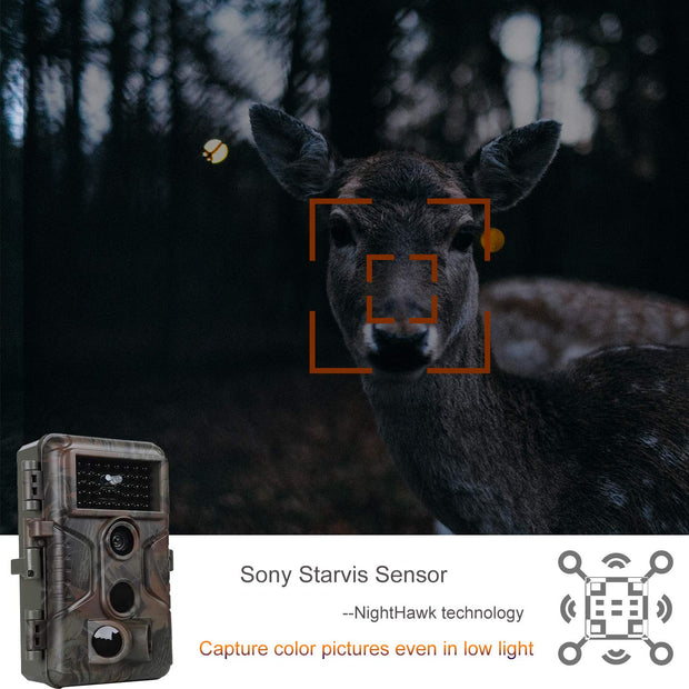 A323 Game Farm Trail Deer Camera with 100ft Night Vision 20MP 1080P Video Audio Motion Activated 0.1S Trigger Speed No Glow Waterproof Animal Hunting Cams