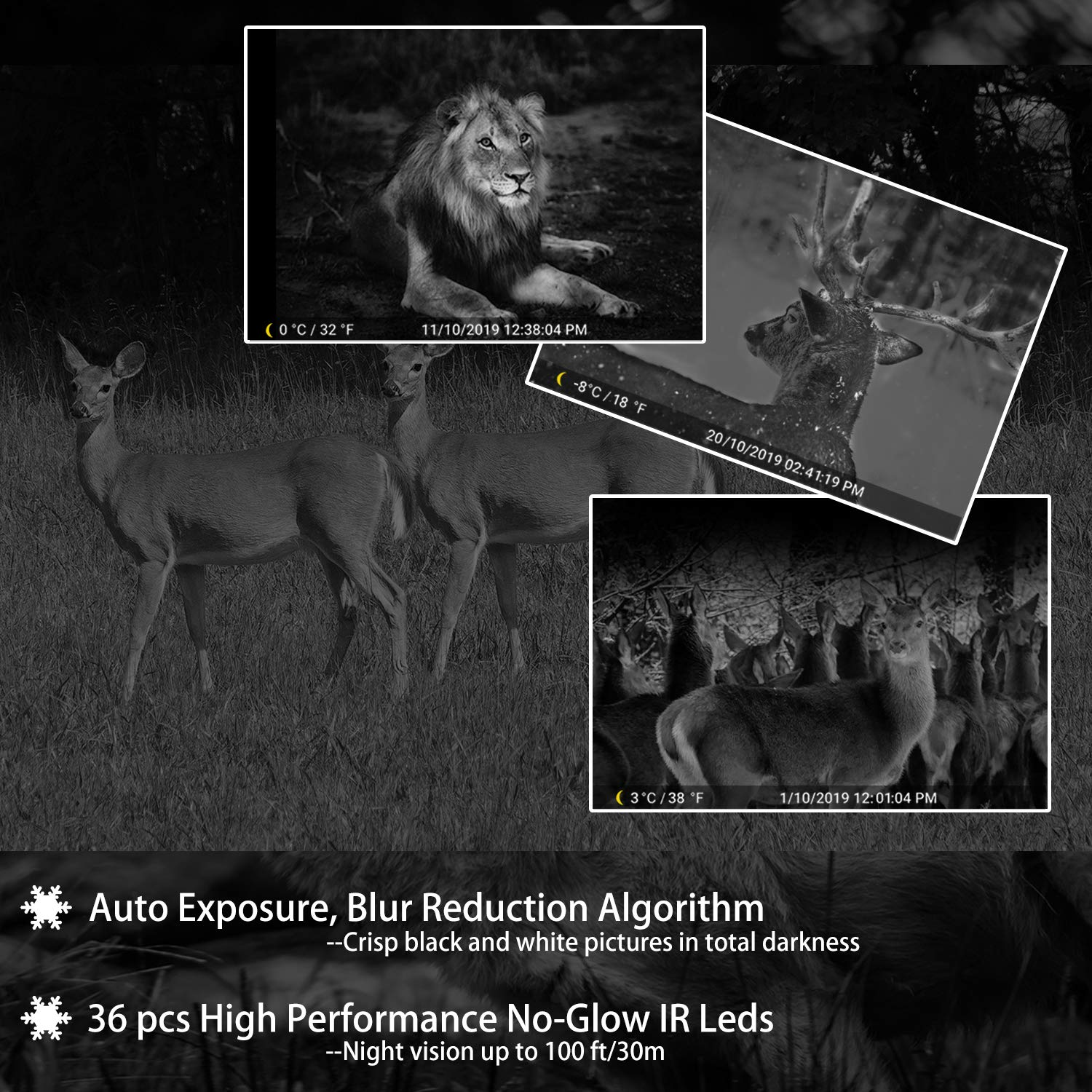 4-Pack Game Trail Deer Cameras Full HD 20MP H.264 MP4 Video with 100ft Night Vision Motion Activated 0.1S Trigger Speed Waterproof No Glow