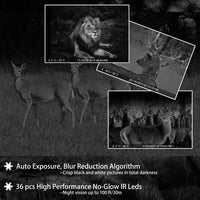 2-Pack Game Trail Deer Cameras Full HD 20MP H.264 MP4 Video with 100ft Night Vision Motion Activated 0.1S Trigger Speed Waterproof No Glow