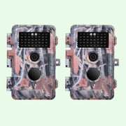 2-Pack Trail Hunting Wildlife & Farm Field Tree Cameras Full HD 20MP 1080P H.264 Video Waterproof No Glow Motion Activated with Night Vision