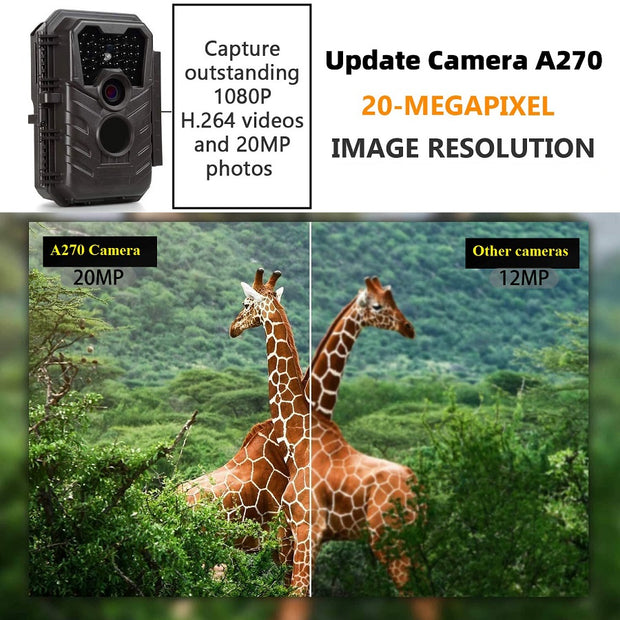 2-Pack A270 Game & Deer Trail Cameras 20MP 1080P HD Video Audio Recorder for Hunting Wildlife & Home Security No Glow Night Vision Motion Activated
