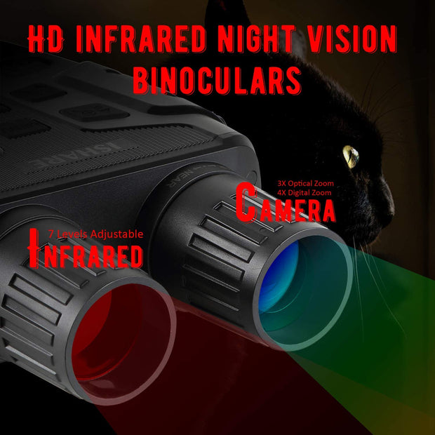 HD Infrared Night Vision Binoculars, Night Vision Goggles Smart Digital Hunting Gear Can Takes Photo 960P Video from 984ft /300M Distance in Complete Darkness
