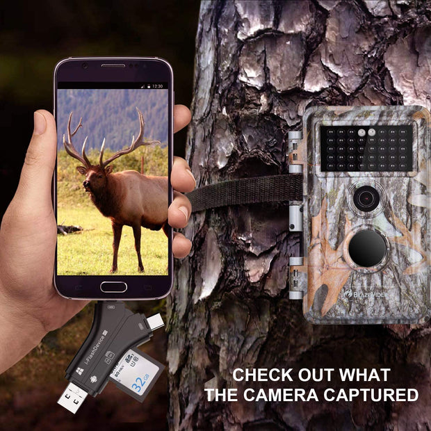 Game & Trail Camera Viewer SD Card Reader, Micro SD Memory Cardreader for Cell Phone to View Photos, Videos from Deer Hunting Cameras, Wildlife Cams