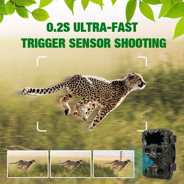 Blazevideo A290 20MP 4K Video Trail Game Deer Camera with Dual Lens Starlight Night Vision 0.2s Trigger Motion Activated for Wildlife Hunting, Farm, Home or Yard Security