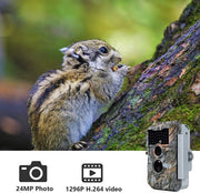 BlazeVideo W600 24MP WiFi Game Trail Camera Deer Cam with Bluetooth Wireless 1296P Video Night Vision No Glow Motion Activated for Wildlife Hunting, Home Security