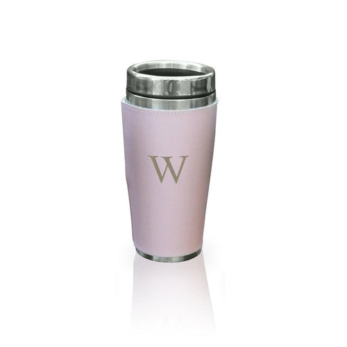 Personalized Pink Leather WrappedTumbler - Stainless Steel