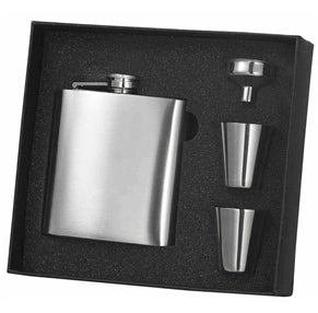 8 oz Stainless Steel Flask Gift Set