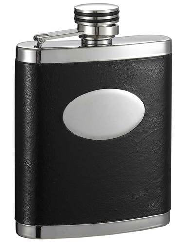 JOEY STAINLESS STEEL LEATHER WRAPPED HIP FLASK WITH ENGRAVING PLATE - 7 OZ