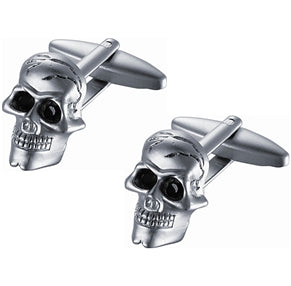 Stainless Steel Skull Cufflinks with Black Crystal Eyes