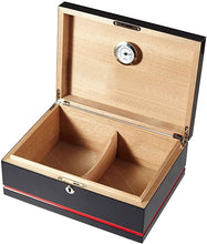 Hydra Black and Red Cigar Humidor - Holds 75 Cigars
