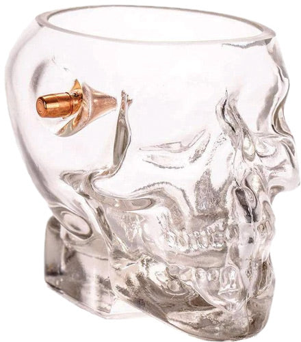 2 MONKEY SKULL WHISKEY GLASS WITH A .308 BULLET BLOWN IN