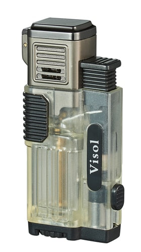 CARDIF TRANSPARENT QUAD TORCH FLAME CIGAR LIGHTER