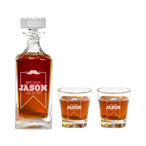 Engraved Groomsman Gift Mustache Design Decanter Set