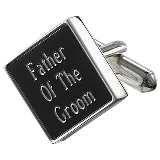Father of the Groom Personalized Black Matte Square Cufflinks