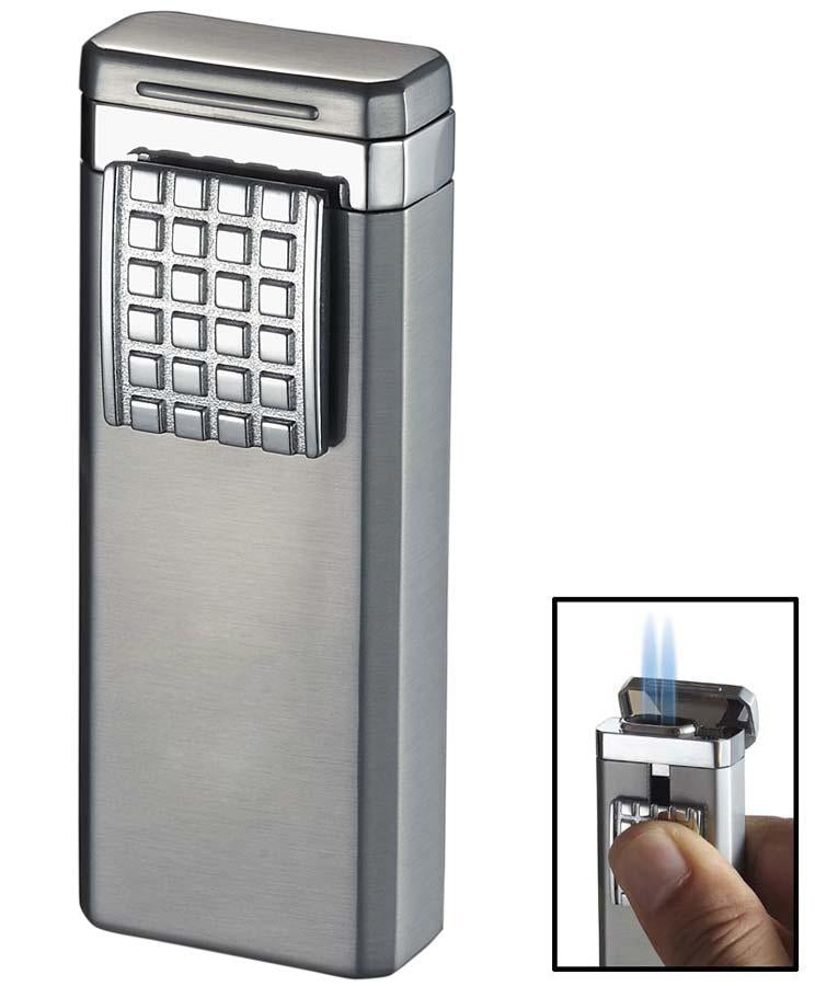 Birati Satin Chrome Double Wind-Resistant Torch Flame Cigar Lighter