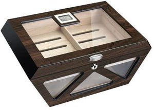 Collin Macassar Lacqered Glass Top Cigar Humidor - Holds 100 Cigars