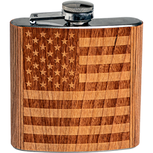 American Flag Engraved Wooden Flask