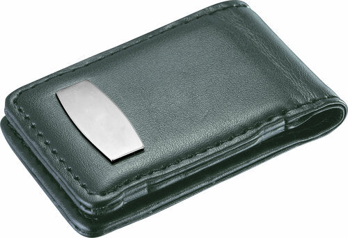 TENACITY BLACK LEATHER & STAINLESS STEEL MONEY CLIP