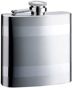 Duo Striped Two-Tone Stainless Steel Hip Flask - 8 oz