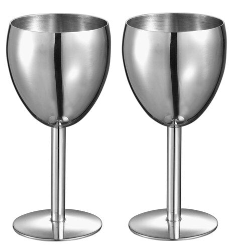 ANTOINETTE STAINLESS STEEL WINE GLASS - SET OF 2