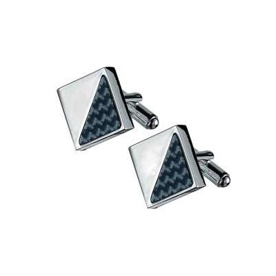 Moretti Carbon Fiber & Silver Plated Square Cufflinks